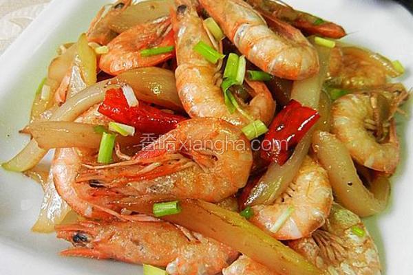 剥杆菜炒毛虾