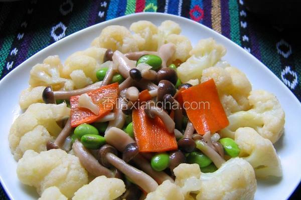 菜花炒豆菇