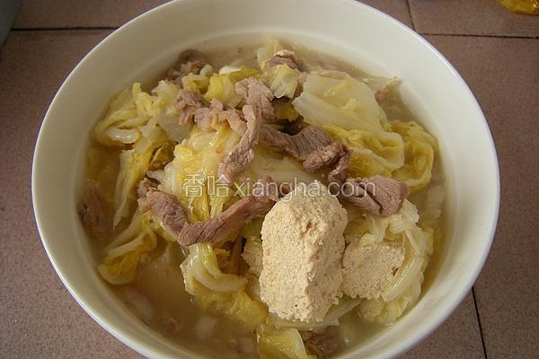 白菜冻豆腐肉丝汤