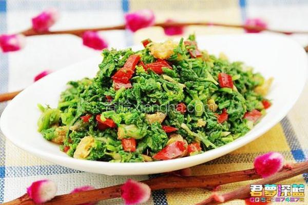 海米拌荠菜