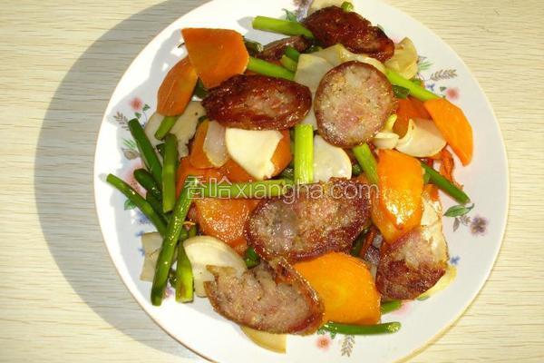 肉肠蒜薹胡萝卜