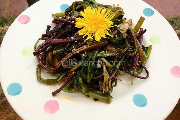 蒲公英拌蕨菜