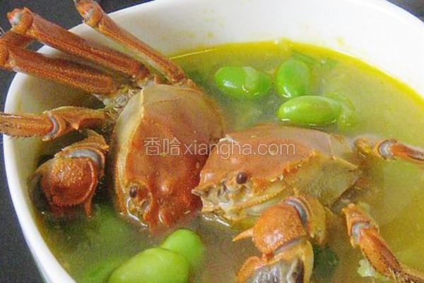 河蟹毛豆汤