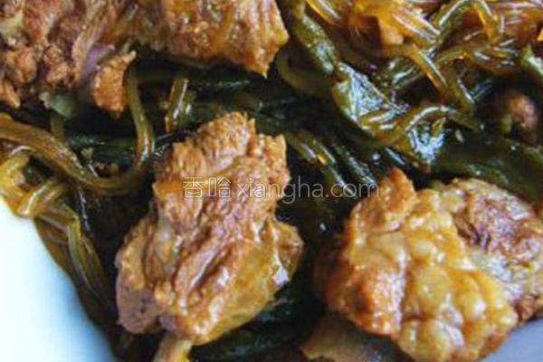 红烧高温干豆角炖蚝油的菜谱_粉条_香哈网孕妇能吃做法的排骨吗图片
