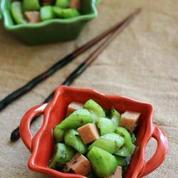 火腿榄菜炒丝瓜的做法[图]