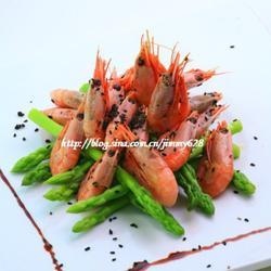 芦笋黑芝麻北极虾的做法[图]