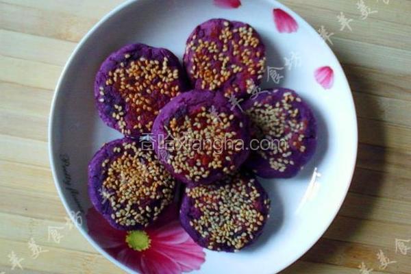 蜂蜜紫薯豆沙饼