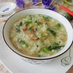 荠菜鸡肝糯米粥的做法[图]