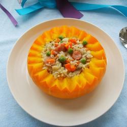 南瓜香肠焖饭的做法[图]