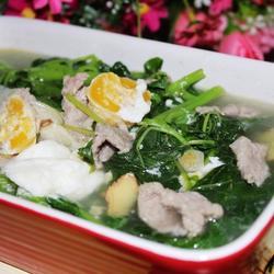 咸蛋肉片苋菜汤的做法[图]
