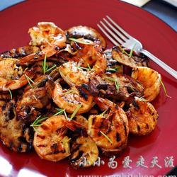 煎烤蘑菇大虾的做法[图]