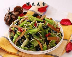 黑豆芽卤豆皮炒芹菜