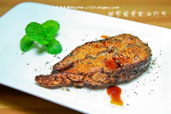 甜紫苏叶配油炸鱼