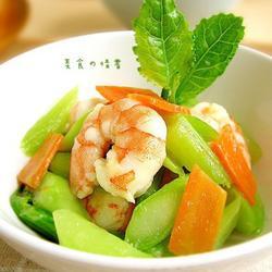 虾仁炒芥蓝的做法[图]