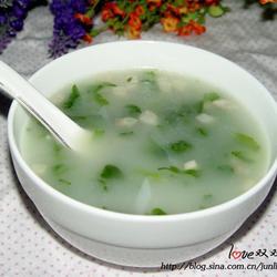 芹菜叶花生米清香粥的做法[图]