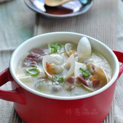 火腿蛤蜊豆腐煲的做法[图]