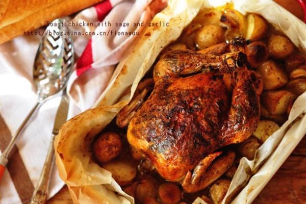 鼠尾草蒜香烤鸡