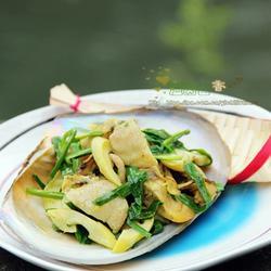 韭菜春笋炒蚌肉的做法[图]