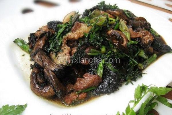 野芹菜炒蘑菇