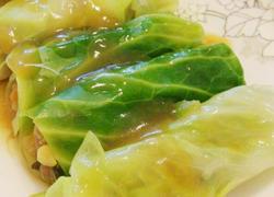 圆白菜蒸肉卷
