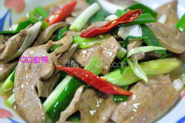 蚝油葱段炒猪肝片