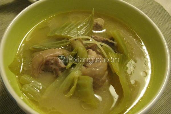 豆乳芥菜鸡汤