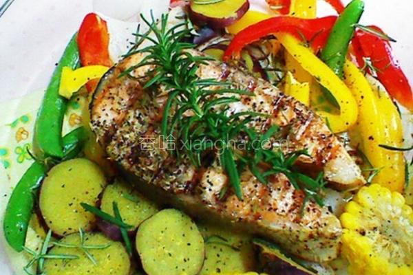 迷迭香鲜蔬鲑鱼