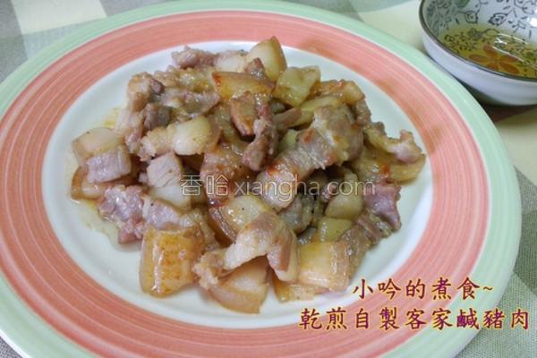 蒜苗炒咸猪肉片