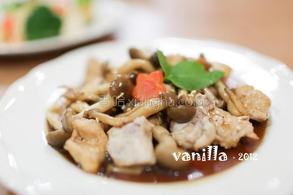 海鲜菇炒鸡肉的做法