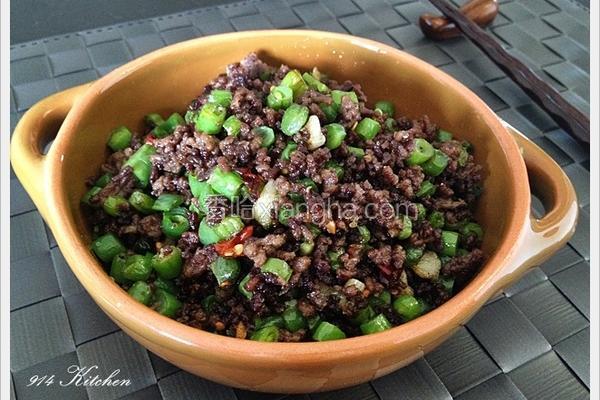 牛绞肉炒四季豆丁