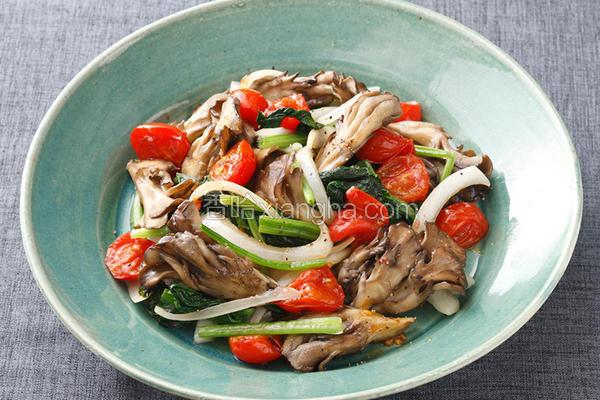 舞菇炒菠菜