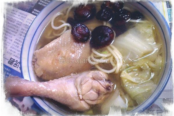 葱炖香菇鸡腿面
