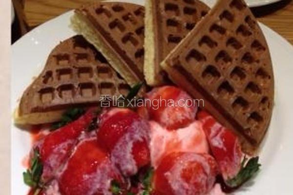 草莓炼奶松饼