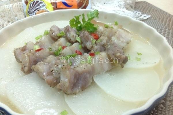 咸猪肉蒸白萝卜片
