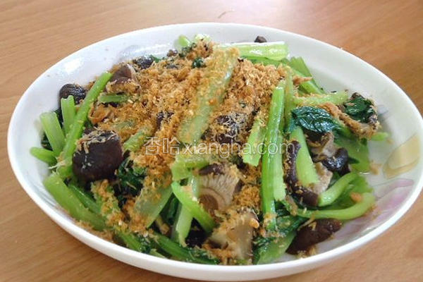 大米口感水炒油菜香菇和肉松的籼米图片