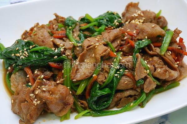 姜烧猪肉炒菠菜