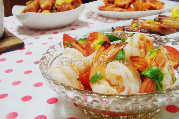 生菜果醋凉拌虾