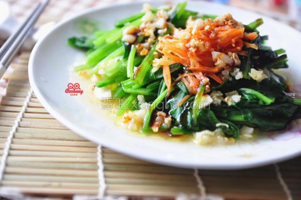 油煸蒜香菠菜的做法