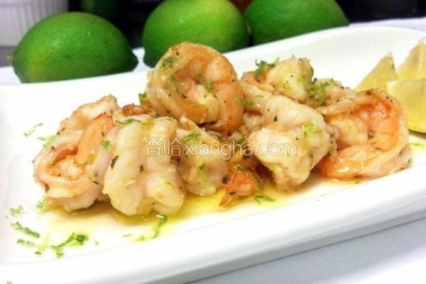 蒜头奶油柠檬炒虾