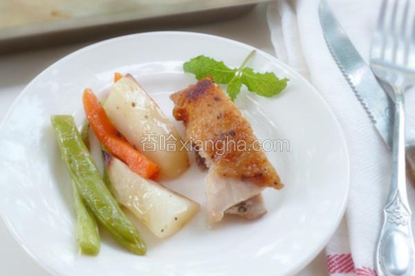 蒜香蔬菜烤鸡腿