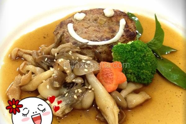 综合菇炖汉堡排