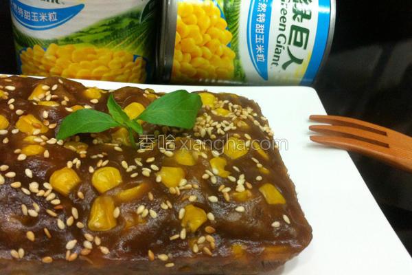 玉米黑糖糕的做法