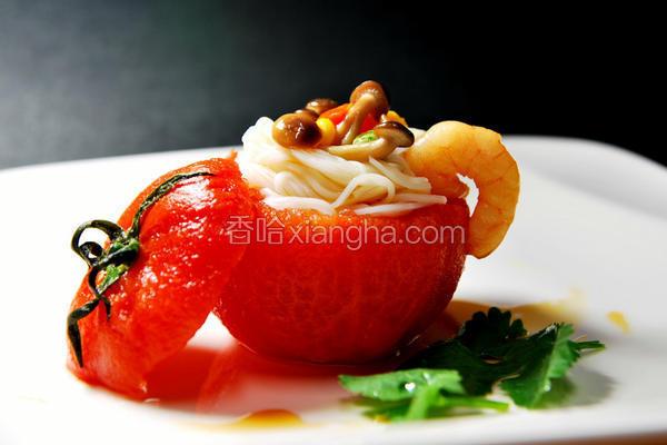 鲜虾米线番茄盅