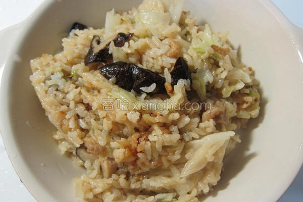 香菇高丽菜炊饭的做法