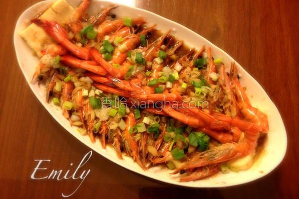 蒜蓉鸡蛋豆腐蒸虾的做法