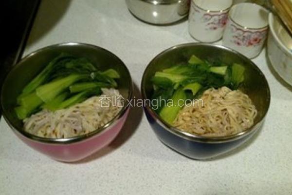 青江菜干拌米豆签