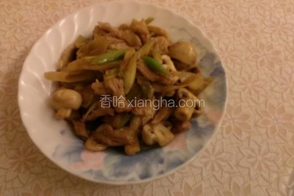 洋菇炒肉丝