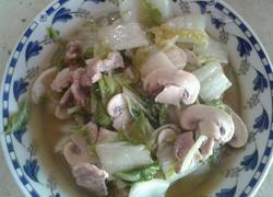 大白菜蘑菇炒肉片