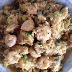 洋葱虾仁炒鸡蛋