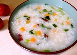 砂锅干贝蔬菜粥